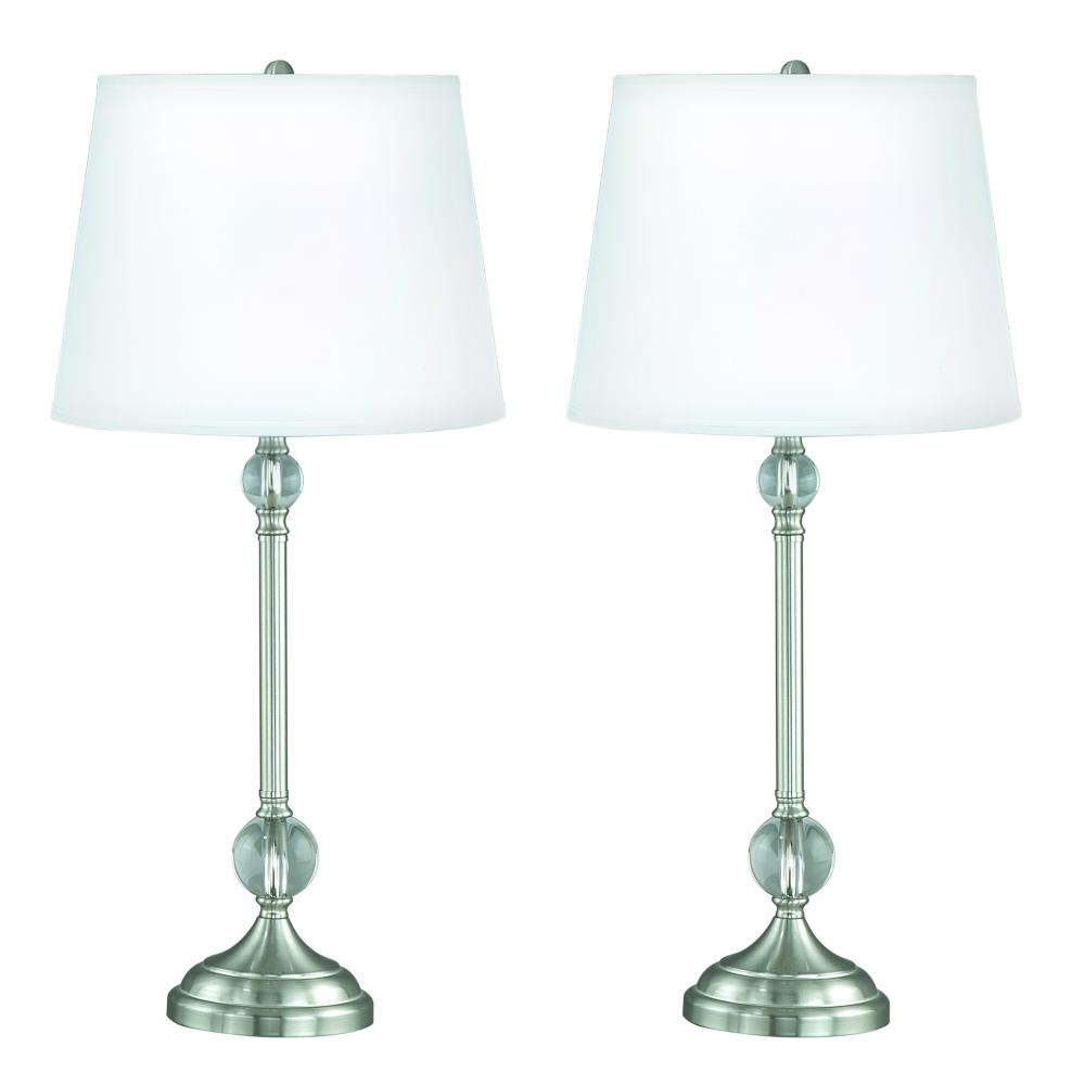 2 Pack Table Lamps Crystal Sphere And Linen Shade Etd6
